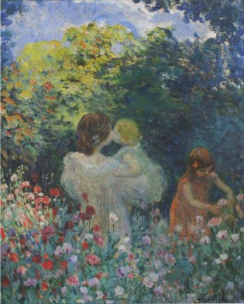 In the Flowers   Henri Lebasque   oil painting