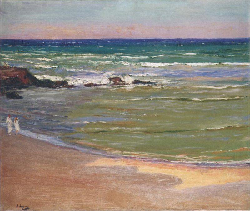 Evening on the beach | Sir John Lavery | oil painting