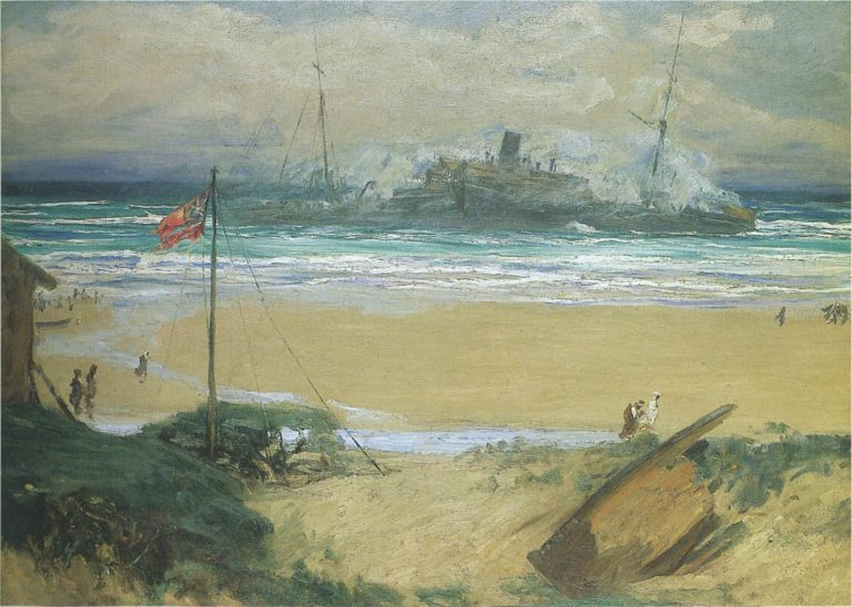 The wreck of the SS Delhi | Sir John Lavery | oil painting