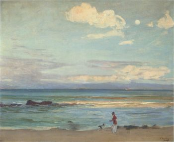 Evening on the Coast of Spain from Tangier | Sir John Lavery | oil painting