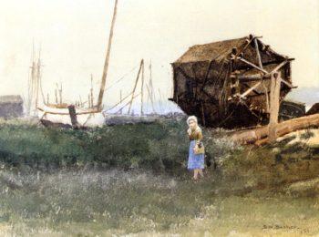 The Fisher Girl Nantucket   Dennis Miller Bunker   oil painting