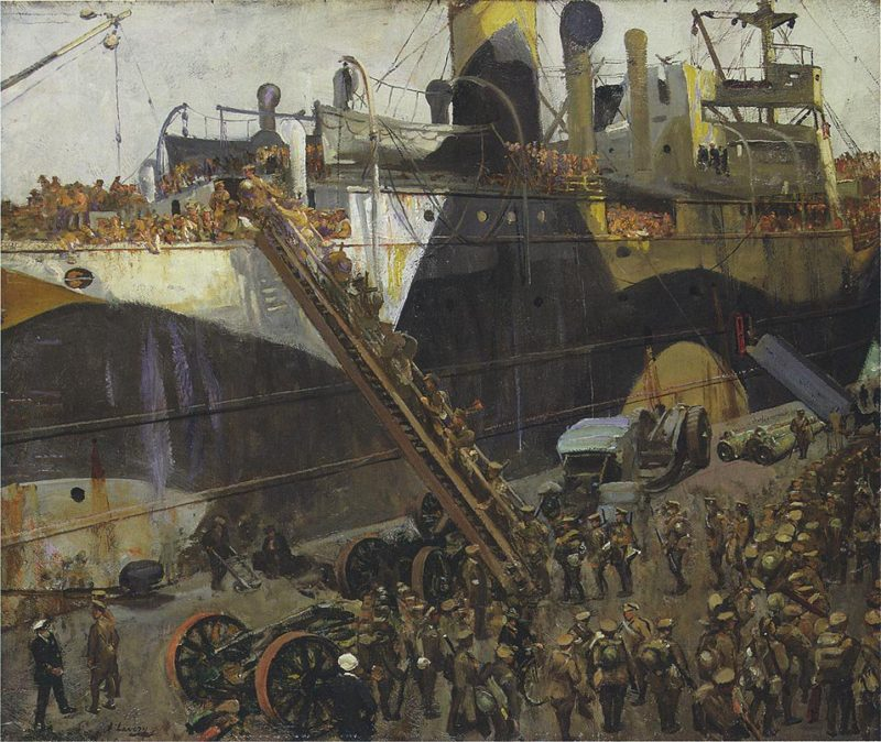 Embarking on the Western Front   Sir John Lavery   oil painting