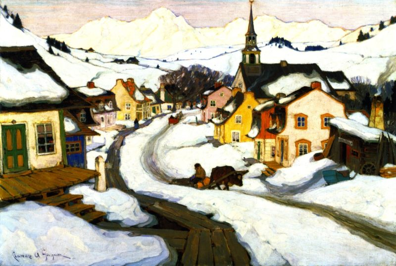 Village in the Laurentian Mountians | Clarence Gagnon | oil painting