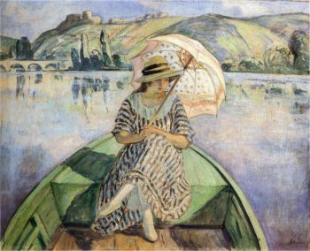 Woman in a boat with an umbrella | Henri Lebasque | oil painting