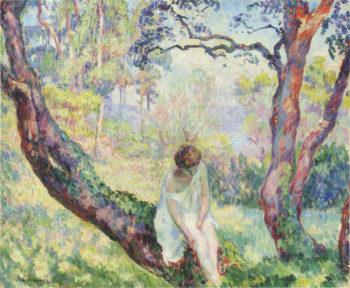 Woman in a landscape   Henri Lebasque   oil painting