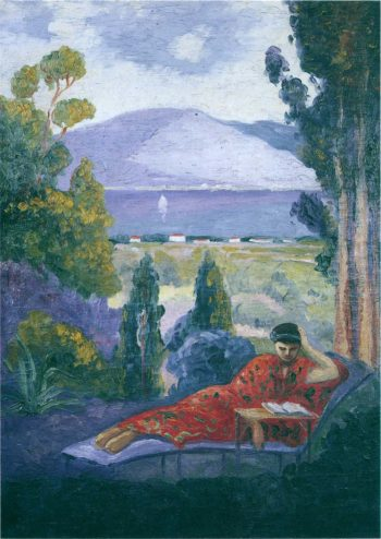 Woman in a Mediterranean landscape   Henri Lebasque   oil painting