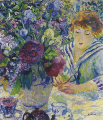 Woman with a vase of flowers   Henri Lebasque   oil painting
