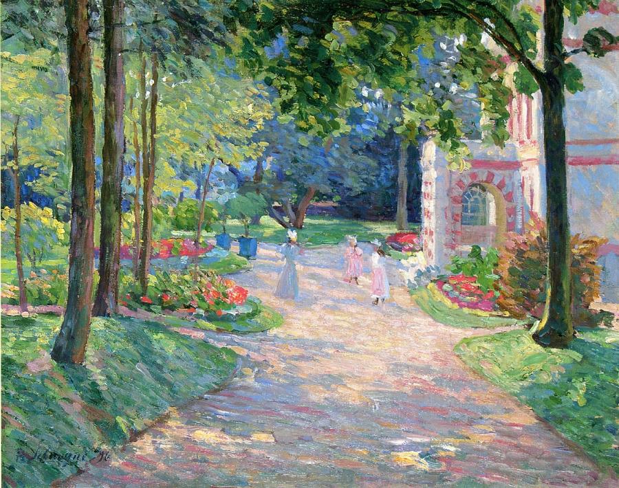 Women and Children in the Parc de Dammartin Painting | Henri ...
