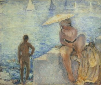 Young Bather with Parasol   Henri Lebasque   oil painting