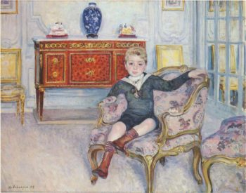 Young boy in an interior   Henri Lebasque   oil painting