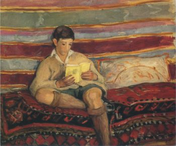 Young boy reading   Henri Lebasque   oil painting