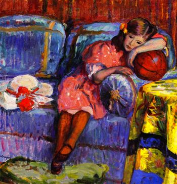 Young girl and the red balloon   Henri Lebasque   oil painting