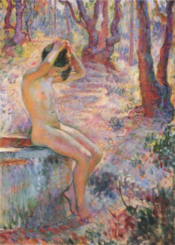 Young girl by fountain   Henri Lebasque   oil painting