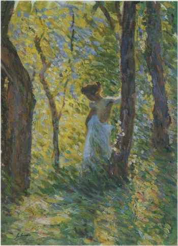 Young girl in a clearing   Henri Lebasque   oil painting
