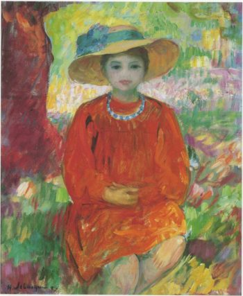 Young girl in orange dress   Henri Lebasque   oil painting