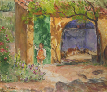 Young girl on the veranda at St Tropez   Henri Lebasque   oil painting