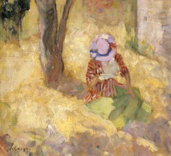 Young girl reading a book   Henri Lebasque   oil painting