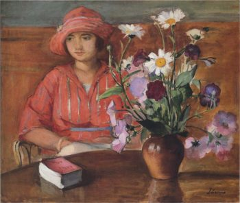Young girl with flowers | Henri Lebasque | oil painting