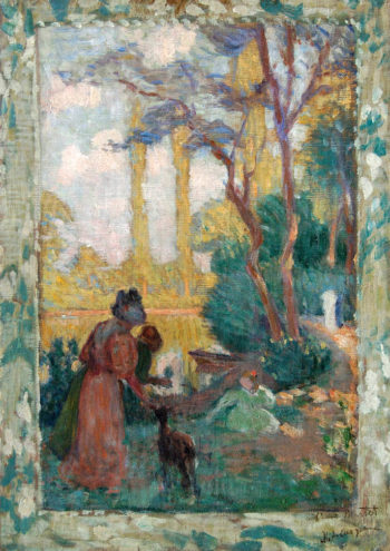 Young woman and children in park | Henri Lebasque | oil painting