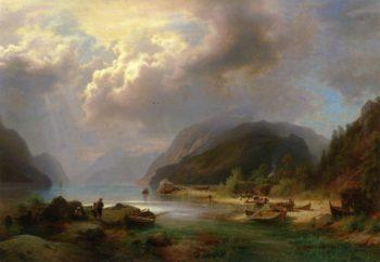 Alpine Lake Scene   Herman Herzog   oil painting