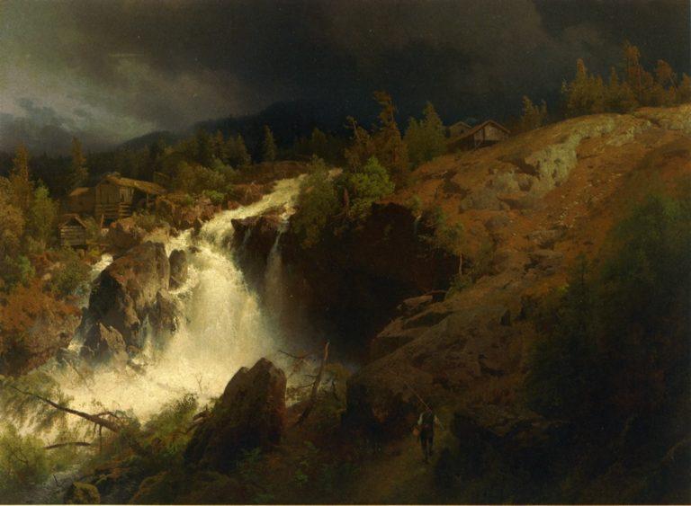 A Mountain Torrrent   Herman Herzog   oil painting