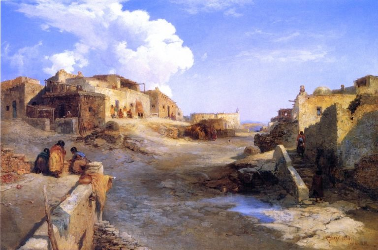 An Indian Pueblo Laguna New Mexico | Thomas Moran | oil painting
