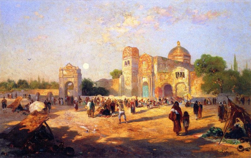 Mexican Plaza Market Day   George Inness   oil painting