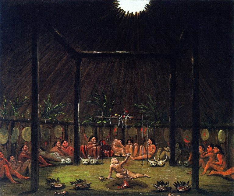 Interior View of the Medicine Lodge Mandan O kee pa Ceremony | George Catlin | oil painting