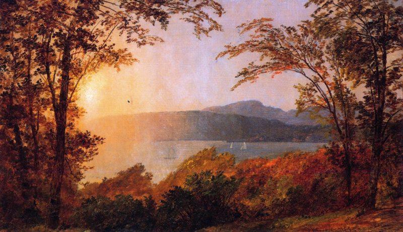 Sunset Hudson River   Jasper Francis Cropsey   oil painting
