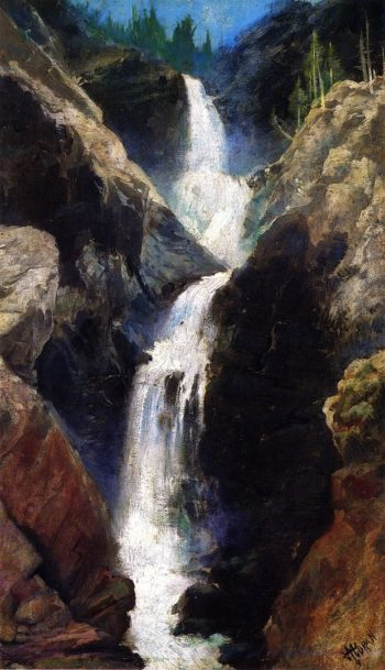 Marys Veil A Waterfall in Utah | Thomas Moran | oil painting