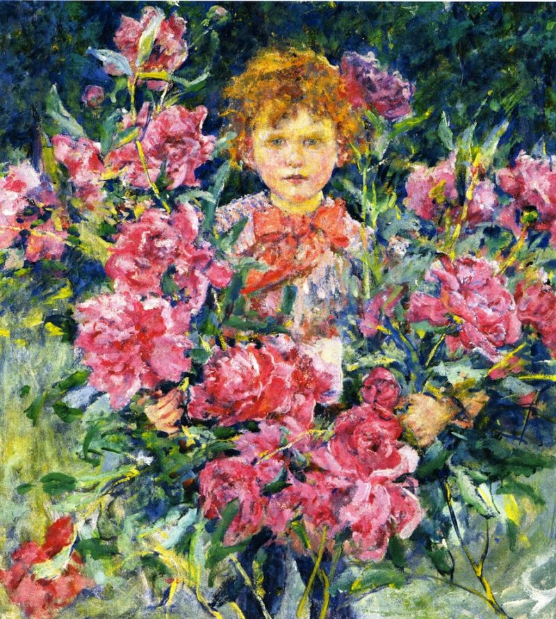 Boy with Red Peonies | Robert Lewis Reid | oil painting