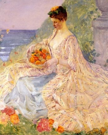 Woman with a Flower Basket | Frederick C Frieseke | oil painting