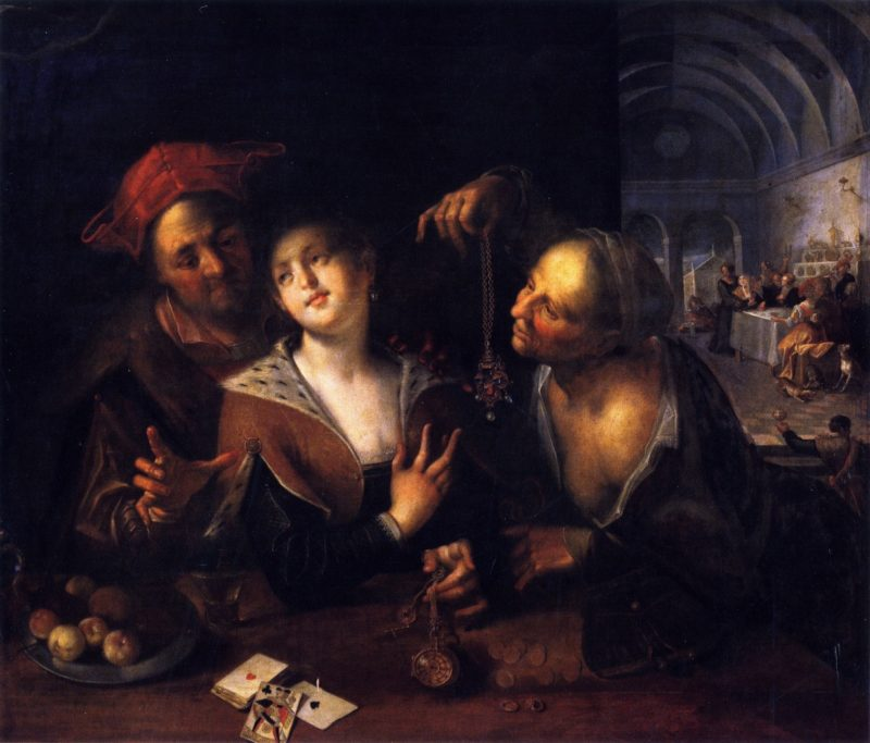 A Procuress with a Couple | Hans von Aachen | oil painting