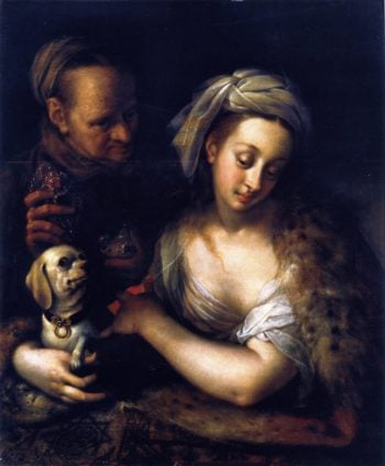 A Courtesan with Her Procuress | Hans von Aachen | oil painting