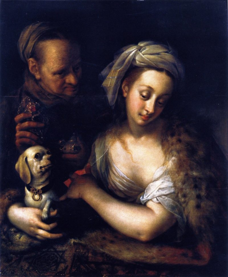 A Courtesan with Her Procuress | Hans von Aachen | oil painting
