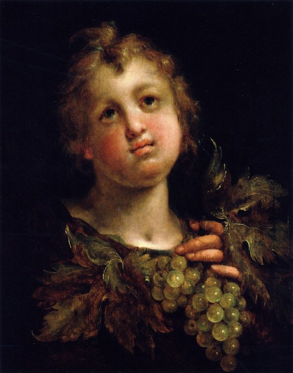 A Boy with Grapes   Hans von Aachen   oil painting