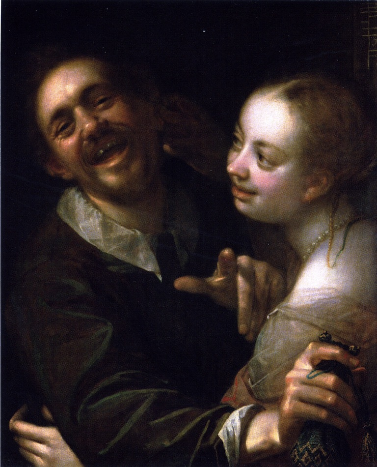 Laughing Couple with a Money Purse | Hans von Aachen | oil painting