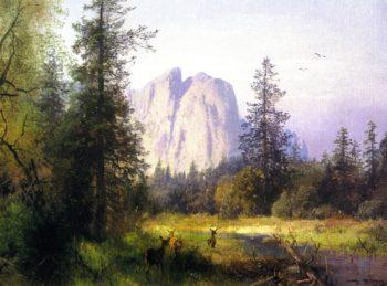 Yosemite Valley A Family of Deer | Herman Herzog | oil painting