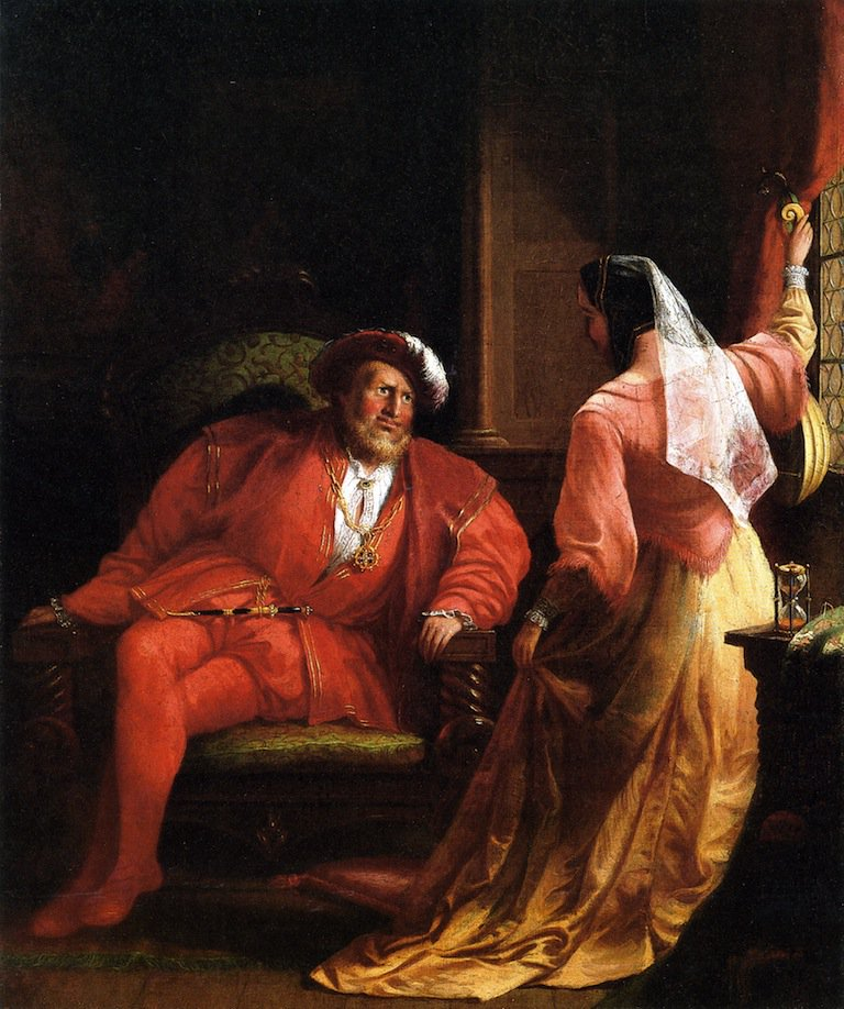 Henry VIII and Anne Boleyn   William Rimmer   oil painting