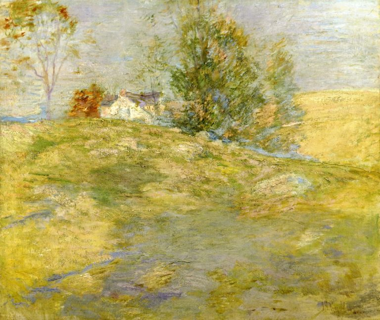 Artist's Home in Autumn Greenwich Connecticut | John Twachtman | oil painting