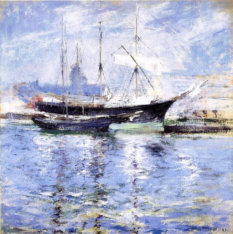 Bark and Schooner | John Twachtman | oil painting