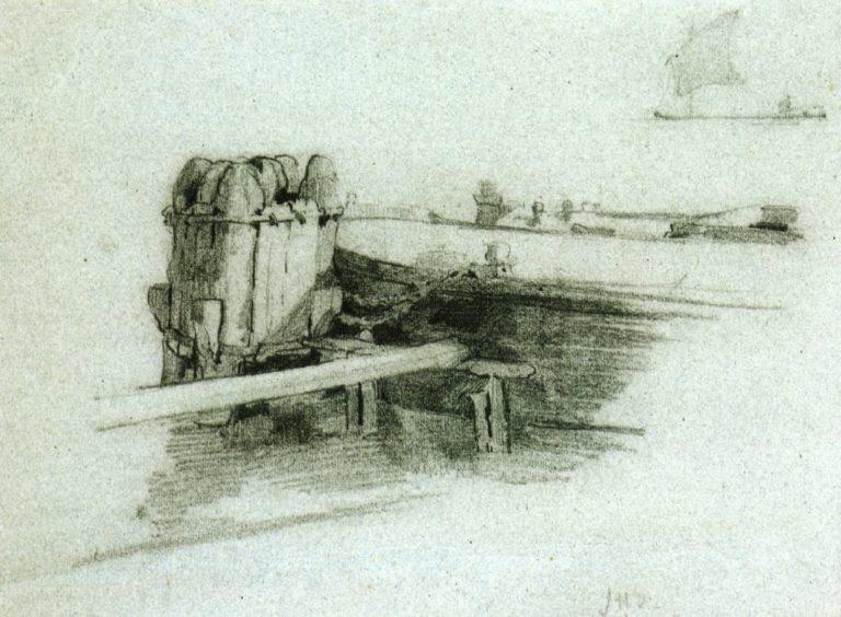 Boat at Bulkhead | John Twachtman | oil painting
