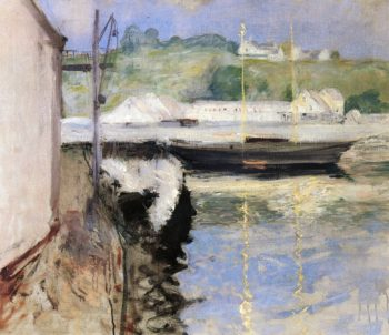Fish Sheds and Schooner Gloucester | John Twachtman | oil painting