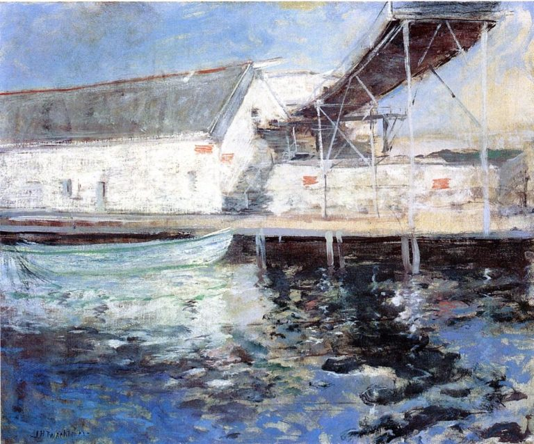 Fish Sheds Gloucester Massachusetts   John Twachtman   oil painting