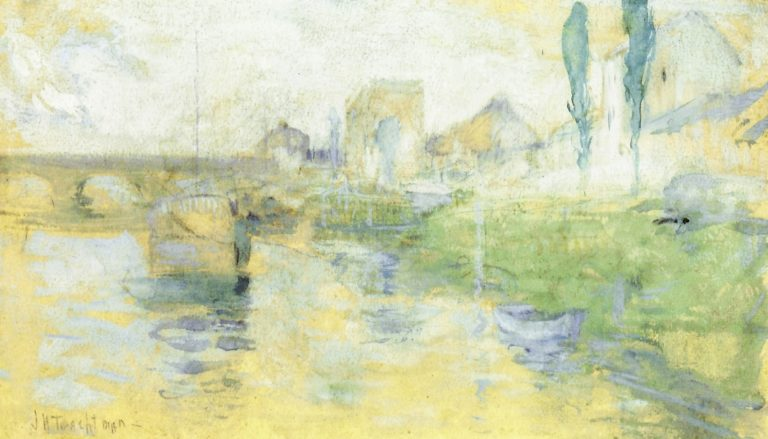 French River Scene | John Twachtman | oil painting