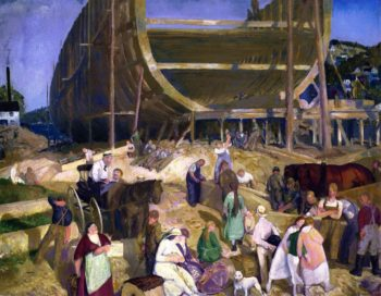 Shipyard Society | George Wesley Bellows | oil painting