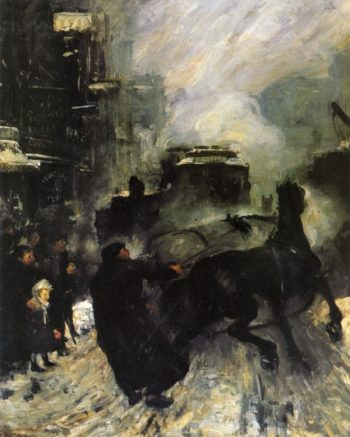 Steeming Streets | George Wesley Bellows | oil painting