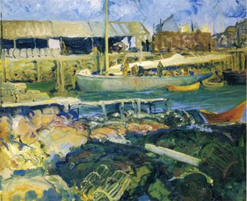 The Fish Wharf Matinicus Island | George Wesley Bellows | oil painting
