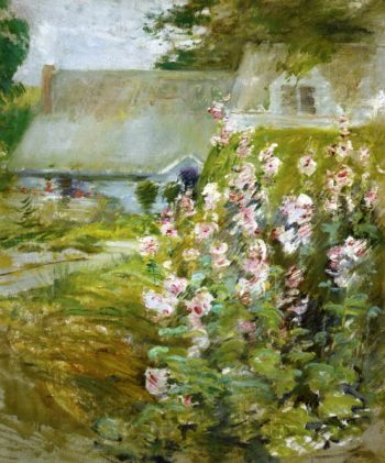 Hollyhocks 1 | John Twachtman | oil painting