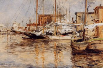 Oyster Boats North River | John Twachtman | oil painting